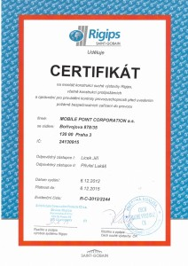 Certifikát - sádrokartony